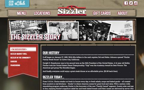 Screenshot of About Page sizzler.com - History - Sizzler - captured Sept. 19, 2014