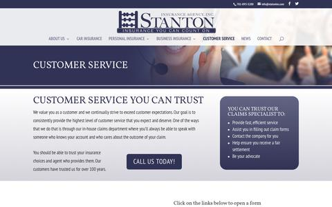 Screenshot of Support Page stantonins.com - Custom Service - Stanton Insurance Agency Waltham, MA - captured Nov. 9, 2017