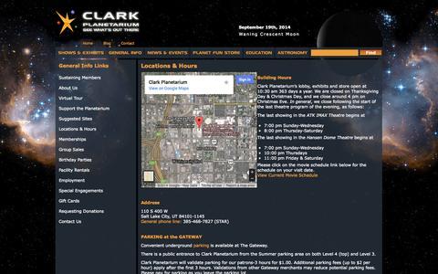 Screenshot of Maps & Directions Page clarkplanetarium.org - Locations & Hours | Clark Planetarium - captured Sept. 19, 2014
