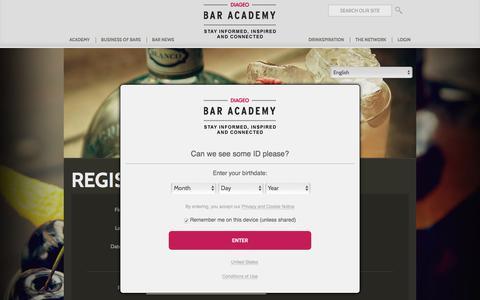 Screenshot of Signup Page diageobaracademy.com - Diageo Bar Academy | Register as a Member - captured June 4, 2017
