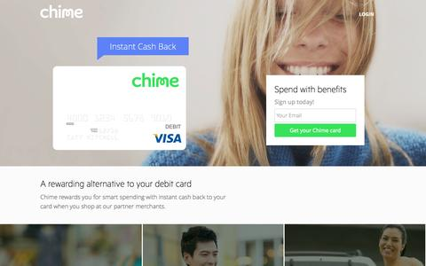 Screenshot of Home Page chimecard.com - Welcome to Chime - captured Sept. 22, 2014