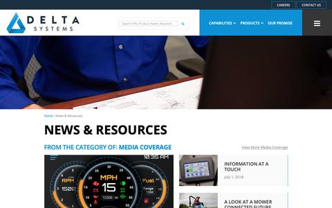 Screenshot of Press Page deltasystemsinc.com - News & Resources   Electronics Components Innovations                 Delta Systems - captured Nov. 4, 2018