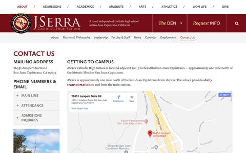 Screenshot of Contact Page jserra.org - Contact Us - JSerra Catholic High School - captured Oct. 13, 2018