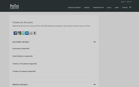 Screenshot of Signup Page pentestmag.com - Register   Pentestmag - captured Oct. 30, 2014