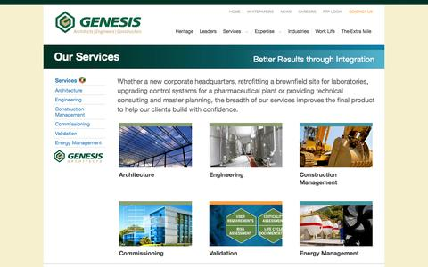 Screenshot of Services Page geieng.com - Genesis Engineers - Engineering - Design - Construction - Commissioning - captured Oct. 2, 2014