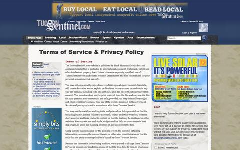 Screenshot of Privacy Page Terms Page tucsonsentinel.com - Terms of Service & Privacy Policy - captured Oct. 26, 2014