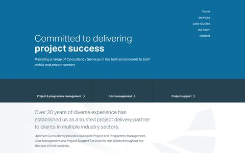 Screenshot of Home Page optimum.uk.com - Committed To Delivering Project Success | Optimum Consultancy - captured Feb. 14, 2016
