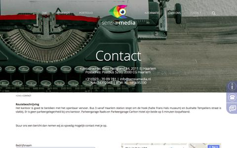 Screenshot of Contact Page sensiamedia.nl - Contact » Sensia Media - captured Aug. 4, 2015