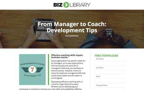 Screenshot of Landing Page bizlibrary.com - From Manager to Coach: Development Tips [Infographic] - captured April 21, 2018