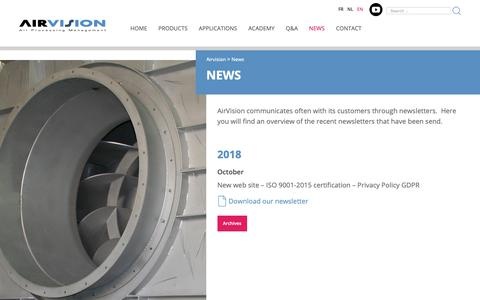 Screenshot of Press Page airvision.be - News | Airvision - captured Nov. 6, 2018