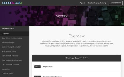 Screenshot of domo.com - Domopalooza '18 Agenda | Domo - captured Jan. 25, 2018