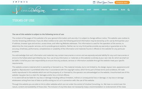 Screenshot of Terms Page lynnrobinson.com - Terms of Use - Lynn Robinson - captured Sept. 3, 2016