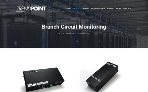 Screenshot of Products Page trendpoint.com - Branch Circuit Monitoring - Trendpoint - captured Nov. 8, 2017
