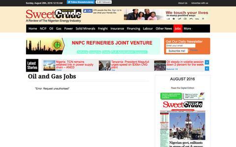 Screenshot of Jobs Page sweetcrudereports.com - Oil and Gas Jobs - SweetCrudeReports - captured Aug. 27, 2016