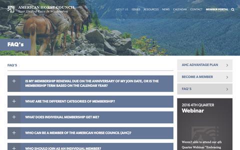 Screenshot of FAQ Page horsecouncil.org - FAQ's - American Horse Council - captured Oct. 3, 2018