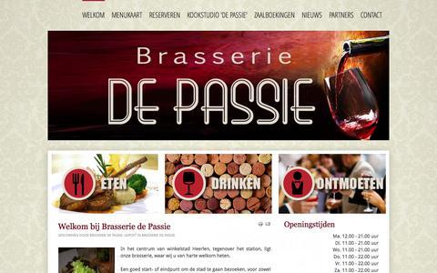 Screenshot of Home Page brasseriedepassie.nl - Brasserie de Passie - Welkom - captured Sept. 30, 2014
