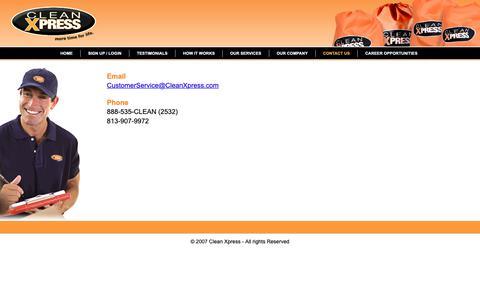 Screenshot of Contact Page sanda.tk - Clean Xpress - Contact Us - captured Nov. 11, 2018
