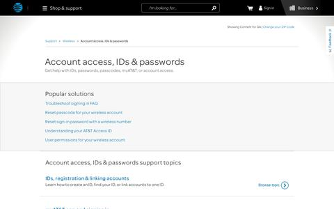 Account access, IDs & passwords Support for Wireless Customers - AT&T