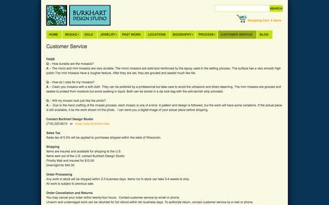 Screenshot of Support Page burkhartdesignstudio.com - Customer Service - captured Oct. 27, 2014