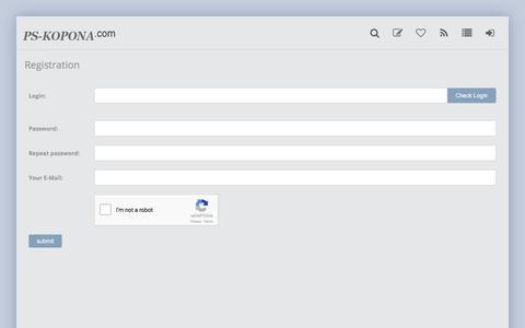 Screenshot of Signup Page photoshop-kopona.com - Register » Photoshop-Kopona.com - Free Photoshop Resources - captured June 21, 2017