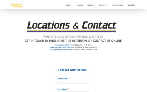 Screenshot of Contact Page academyofaviation.com - Contact Us - Academy of Aviation - captured Oct. 2, 2018