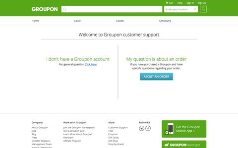 Screenshot of Support Page groupon.ro - Contact Us - captured Jan. 19, 2016