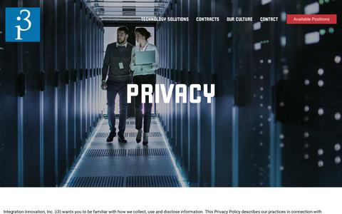 Screenshot of Privacy Page i3-corps.com - Privacy - i3 Corps - captured Oct. 12, 2018
