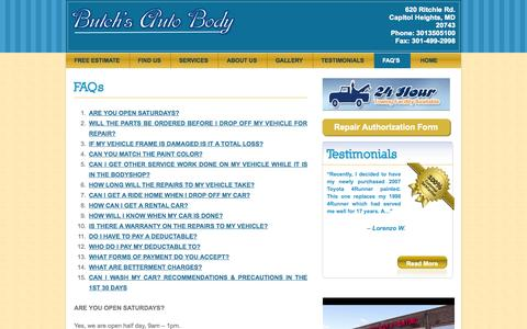 Screenshot of FAQ Page butchsautobody.com - Auto Shop Clinton MD, Upper Marlboro MD Body Shop, Forestville MD Autobody | Butchs Auto Body - captured Oct. 5, 2014