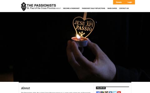 Screenshot of About Page thepassionists.org - Passionists of St. Paul of the Cross Province - captured Oct. 9, 2014