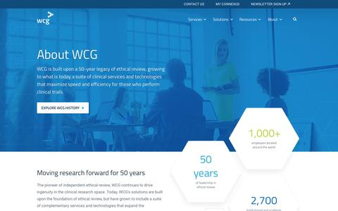 Screenshot of About Page wcgclinical.com - About the WIRB-Copernicus Group | WCG Clinical - captured July 29, 2018