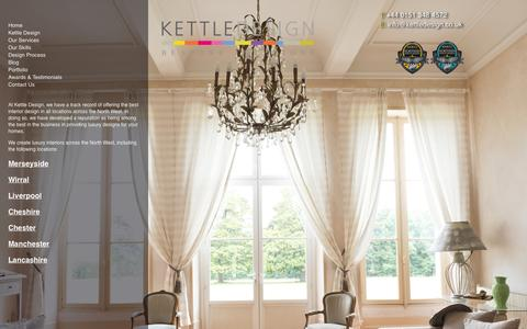 Screenshot of Locations Page kettledesign.co.uk - Interior Design Cheshire Chester Liverpool & Wirral - Locations served by Kettle Design - captured Sept. 30, 2014