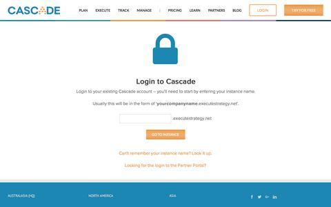 Screenshot of Login Page executestrategy.net - Login to Cascade Strategy - captured Oct. 22, 2017