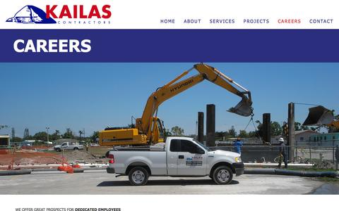 Screenshot of Jobs Page kailascontractors.com - Careers • Kailas Contractors - captured Sept. 20, 2018