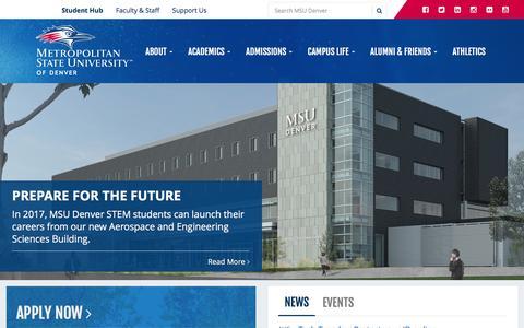Screenshot of Home Page msudenver.edu - Metropolitan State University of Denver - captured Aug. 23, 2016