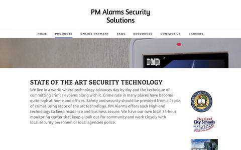 Screenshot of Products Page pmalarms.net - Products - PM Alarms Security Solutions - captured Nov. 9, 2018