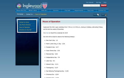 Screenshot of Hours Page cityofinglewood.org - Inglewood Website - Hours of Operation - captured Sept. 3, 2016