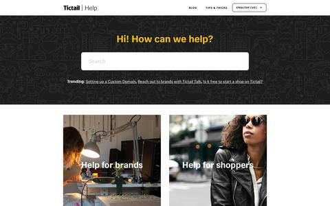 Screenshot of Pricing Page tictail.com - Tictail Help Center - captured Dec. 7, 2016
