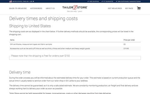 Shipping information for tailor-made dress shirts and silk ties