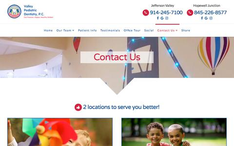 Screenshot of Contact Page Locations Page valleypediatricdentistry.com - Contact Us | Valley Pediatric Dentistry PC - captured July 6, 2018