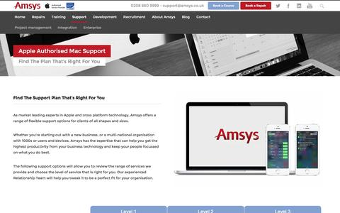 Screenshot of Support Page amsys.co.uk - Apple Support Plans - Enterprise & Education | Amsys UK - captured July 26, 2016