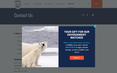 Screenshot of Contact Page nrdc.org - Contact Us   NRDC - captured Dec. 5, 2019