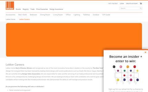 Screenshot of Jobs Page lekkerhome.com - Lekker Careers                                       | Lekker Home - captured July 13, 2016