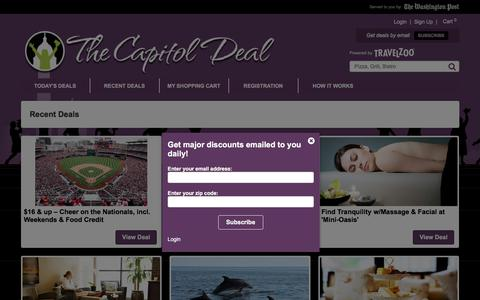 Screenshot of Home Page thecapitoldeal.com - The Capitol Deal: Powered By Travelzoo: Deals and Coupons for Restaurants, Beauty, Fitness, Travel, Shopping & more - captured Sept. 2, 2017