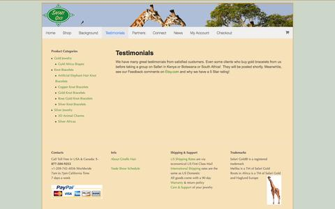Screenshot of Testimonials Page safarigold.com - Testimonials | Safari Gold - captured Oct. 28, 2014