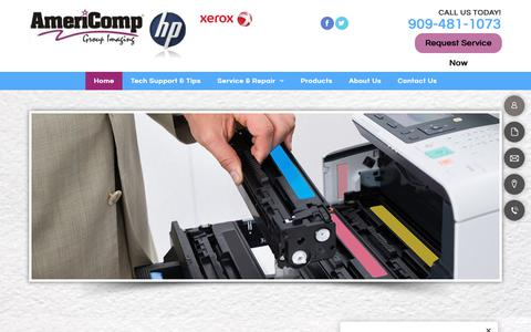 Screenshot of Home Page americompgroup.com - Laser Printer Service & Repair |  Alta Loma, CA | Americomp Group - captured Oct. 3, 2018