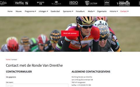 Screenshot of Contact Page rondevandrenthe.nl - contact - captured June 12, 2016