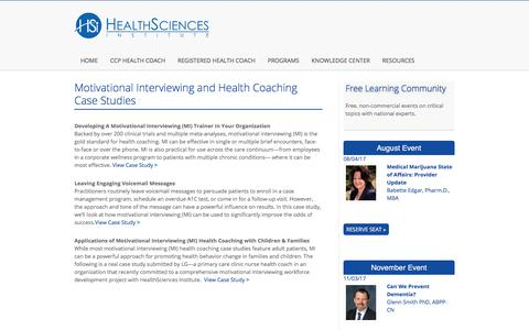 Screenshot of Case Studies Page healthsciences.org - Motivational Interviewing and Health Coaching Case Studies | Motivational Interviewing MI Health Coach CCP Certification - captured July 28, 2017