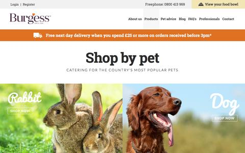 Screenshot of Products Page burgesspetcare.com - Shop by Pet | Catering for the country's most popular pets | Burgess Pet Care - captured July 31, 2016