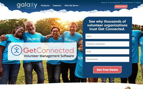 Screenshot of Home Page galaxydigital.com - Best Volunteer Management Software 2019 For Nonprofits, Campuses, and Corporations | Galaxy Digital - captured Aug. 20, 2019
