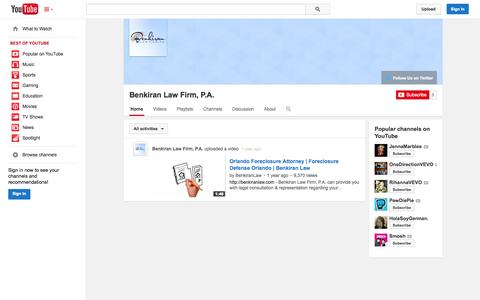 Screenshot of YouTube Page youtube.com - Benkiran Law Firm, P.A.  - YouTube - captured Oct. 27, 2014